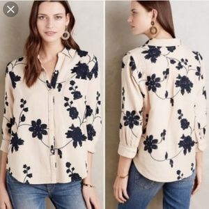 Anthro Isabella Sinclair embroidered floral top
